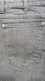 Fabric old jeans pocket black gray color,texture Stock Photography