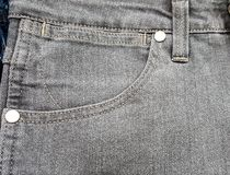 Fabric old jeans pocket black gray color,texture Stock Photos