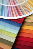 Fabric and opened color card Stock Image