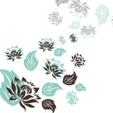 Fabric with ornaments. On white large flowers with blue leaves Royalty Free Stock Images