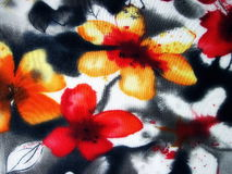 Fabric with painted flowers Royalty Free Stock Images