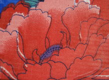 Fabric with painted red poppy Stock Photography