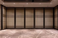 Fabric panels door covered acoustic board pattern surface texture in hotel. Interior material for design decoration background.  stock image