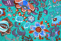 Fabric pattern with classical image of the colorful flowers on b Stock Photography