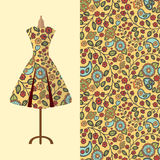 Fabric pattern design for a woman's dress. Perfect for printing royalty free illustration