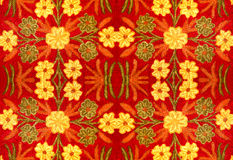 Fabric with a pattern of flowers, embroidery, handmade Stock Images