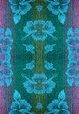 Fabric with a pattern of flowers with progenote threads Royalty Free Stock Images