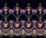 Fabric Pattern Horizontal Border Lace Flowers Garland. Fabric Pattern Horizontal Border Lace Beads Flowers Garland Rococo stock images