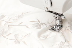 Fabric pattern sewing machine Royalty Free Stock Image