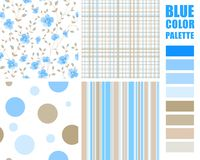 Fabric pattern. Fabric texture palette with complimentary swatches. Vector illustration Stock Photos
