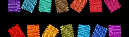 Fabric patterns. Isolated on black background Stock Photography