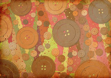 Fabric patterns and buttons Royalty Free Stock Images