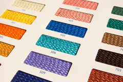Fabric patterns - color card Stock Photos