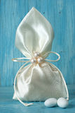 Fabric pouch wedding favor Royalty Free Stock Images