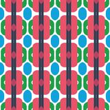 Fabric print. Geometric pattern in repeat. Seamless background with lines, stripes, geometric elements. Design for prints on fabrics, textile, surface, paper royalty free illustration