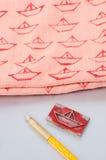Fabric printing. DIY boat stamp fabric printing Stock Photos