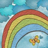 Fabric Rainbow Clouds. With a heart and butterfly Stock Photo