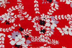Fabric red floral Stock Image
