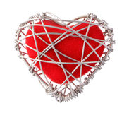 Fabric red heart in aluminium wire. Isolated on white background Stock Photography