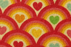 Fabric red heart pattern Stock Photography