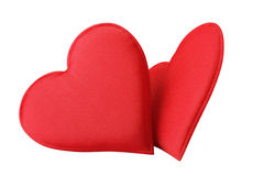 Fabric Red Hearts royalty free stock images