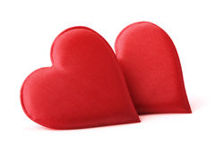 Fabric Red Hearts stock photos