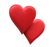 Fabric Red Hearts royalty free stock photo