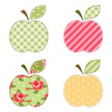 Fabric retro applique of cute apples with green leaf. For scrap booking or invitation cards or party decoration Royalty Free Stock Image