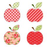 Fabric retro applique of cute apples with green leaf. For scrap booking or invitation cards or party decoration Stock Image