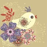 Fabric retro bird. Retro stylized fabric bird - floral background Royalty Free Stock Photo