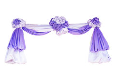 Fabric ribbon. Purple and white fabric ribbon for ceremony isolated on white with clipping path Royalty Free Stock Photo
