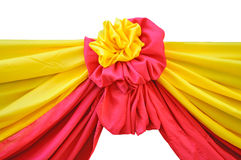 Fabric ribbon. Red and yellow fabric ribbon for ceremony isolated on white Royalty Free Stock Image