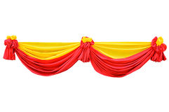 Fabric ribbon. Red and yellow fabric ribbon for ceremony isolated on white with clipping path Royalty Free Stock Images
