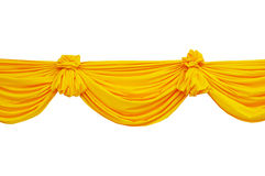 Fabric ribbon. Yellow fabric ribbon for ceremony isolated on white Royalty Free Stock Images