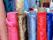 Fabric roll. Colorful fabric rolls for sale Stock Photography
