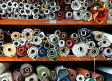 Fabric rolls. Interior of a industrial warehouse with fabric rolls Royalty Free Stock Photos