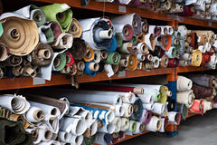 Fabric rolls. Interior of a industrial warehouse with fabric rolls Royalty Free Stock Images