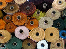 Fabric rolls. Background royalty free stock photos