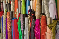 Fabric rolls. On the Carmel market in Tel Aviv stock photography