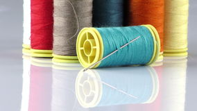 Fabric Rolls and Needle stock video