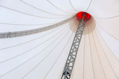 Fabric roof in the form of a beige tent. Stock Photos