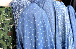 Fabric on rool for sale at the  textiles market Royalty Free Stock Photos