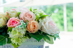 Fabric roses in a bouquet Royalty Free Stock Photography