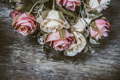 fabric roses,Fake textile vintage Stock Photo