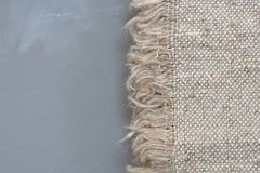 Fabric sackcloth texture on a gray background.Burlap texture. Pattern  fabric textile. Royalty Free Stock Image
