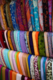 Fabric for sale. In Little Italy in New York City Stock Photos