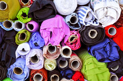 Fabric on sale in a street market Stock Images