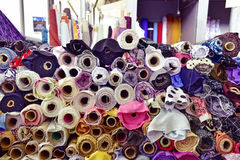Fabric on sale in a street market, filtered Royalty Free Stock Photo
