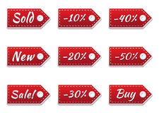 Fabric Sales Tags. Set of stitched fabric sale tags Stock Image