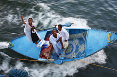 Fabric salesmen on the Nile Stock Photography